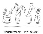 hand drawn vases with flowers....