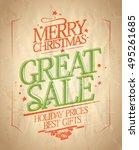 merry christmas great sale... | Shutterstock . vector #495261685
