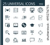 set of 25 universal icons on... | Shutterstock .eps vector #495276751