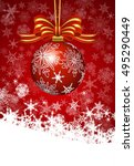 christmas burgundy bauble card  ... | Shutterstock . vector #495290449