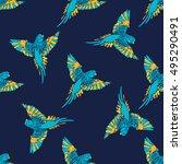 turquoise parrots vector... | Shutterstock .eps vector #495290491