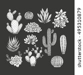 cactus collection. sketchy... | Shutterstock .eps vector #495310879