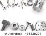 set fo tools and gear on white... | Shutterstock . vector #495328279