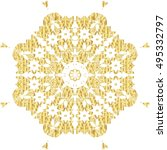 gold  lace pattern on a white... | Shutterstock .eps vector #495332797