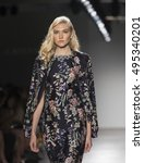 Small photo of New York, NY USA - Sep 8, 2016: Model walks runway for Australian Palette collection Cristahlea by Christiana Livaditis & Katya Lea Livaditis during New York fashion week Spring/Summer 2017 at Pier 59