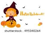 halloween witch | Shutterstock .eps vector #495340264