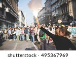 """Small photo of MILAN, ITALY - OCTOBER 7, 2016: students demonstrating against the law of the italian governmnet called """"buona scuola"""". Crowd demostrating for a school of a higher quality."""