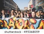 "Small photo of MILAN, ITALY - OCTOBER 7, 2016: students demonstrating against the law of the italian governmnet called ""buona scuola"". Crowd demostrating for a school of a higher quality."
