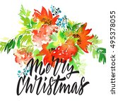 christmas card. watercolor... | Shutterstock . vector #495378055