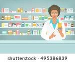 pharmacist at counter in... | Shutterstock .eps vector #495386839