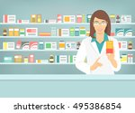 pharmacist at counter in...