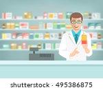 pharmacist at counter in... | Shutterstock .eps vector #495386875