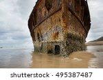 historic ss maheno shipwreck ... | Shutterstock . vector #495387487