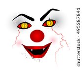 scary face   creepy clown on... | Shutterstock .eps vector #495387841