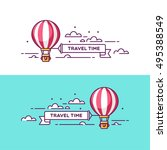 time to travel. air balloon in... | Shutterstock .eps vector #495388549