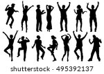 black and white dancing... | Shutterstock .eps vector #495392137
