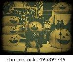 old frame halloween pumpkin | Shutterstock . vector #495392749