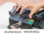 technicians are cutting and... | Shutterstock . vector #495393961