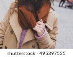 beautiful stylish girl with... | Shutterstock . vector #495397525