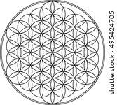 flower of life geometry vector... | Shutterstock .eps vector #495424705