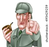 a sherlock holmes style... | Shutterstock . vector #495429259