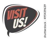 visit us retro speech balloon | Shutterstock .eps vector #495439639
