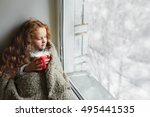 cute little girl sitting with a ...   Shutterstock . vector #495441535