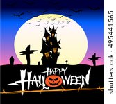halloween pumpkin castle in the ... | Shutterstock .eps vector #495441565