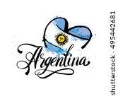 argentina lettering. hand... | Shutterstock .eps vector #495442681