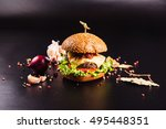 juicy delicious burger with... | Shutterstock . vector #495448351
