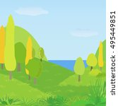 vector autumn landscape with... | Shutterstock .eps vector #495449851