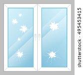 windows with broken glass   Shutterstock .eps vector #495453415