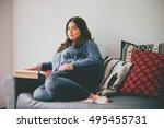 beautiful plus size girl...   Shutterstock . vector #495455731
