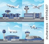 airport building set with... | Shutterstock .eps vector #495456307