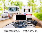 man using a cell phone while... | Shutterstock . vector #495459211