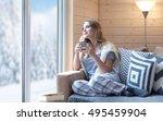 young beautiful blonde woman... | Shutterstock . vector #495459904