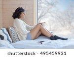 young beautiful brunette woman...   Shutterstock . vector #495459931