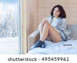young beautiful brunette woman... | Shutterstock . vector #495459961