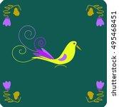 illustration of a yellow bird   | Shutterstock .eps vector #495468451