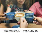 young women drinking coffee... | Shutterstock . vector #495468715