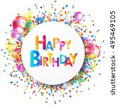 bright happy birthday banner... | Shutterstock .eps vector #495469105