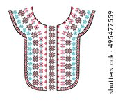 ethnic  tribal neck embroidery... | Shutterstock .eps vector #495477559