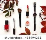 decorative flat lay composition ... | Shutterstock . vector #495494281