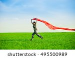 beautiful young woman jumping... | Shutterstock . vector #495500989