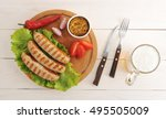 bavarian sausages grilled on a... | Shutterstock . vector #495505009