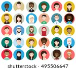 set of diverse round avatars... | Shutterstock .eps vector #495506647