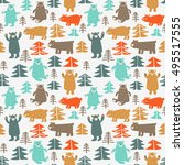funny animal seamless pattern... | Shutterstock .eps vector #495517555
