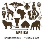 africa icons set | Shutterstock .eps vector #495521125