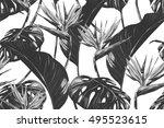 tropical flowers  jungle leaves ... | Shutterstock .eps vector #495523615
