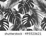 tropical palm leaves  jungle... | Shutterstock .eps vector #495523621